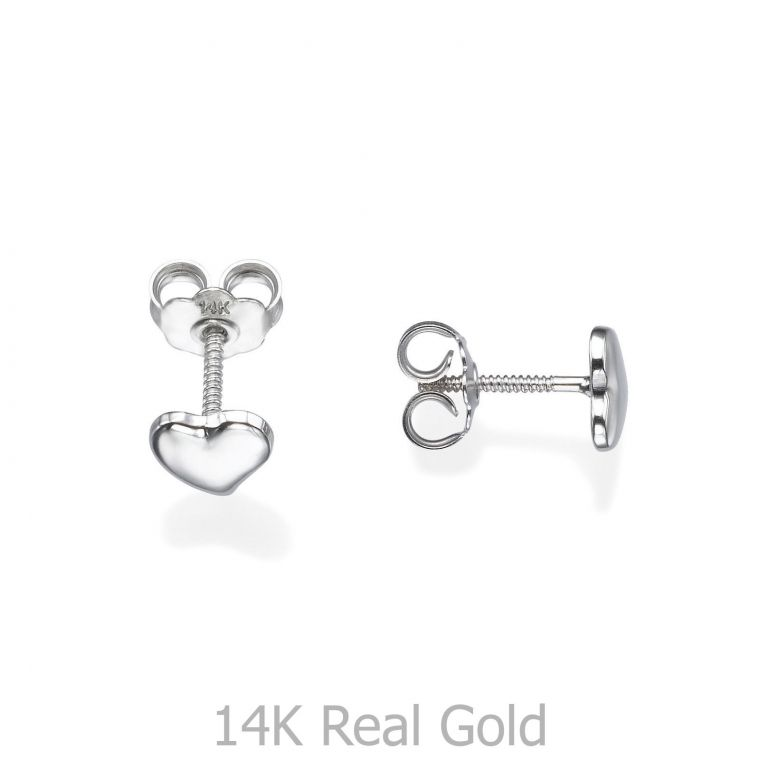 Gold Stud Earrings -  Classic Heart