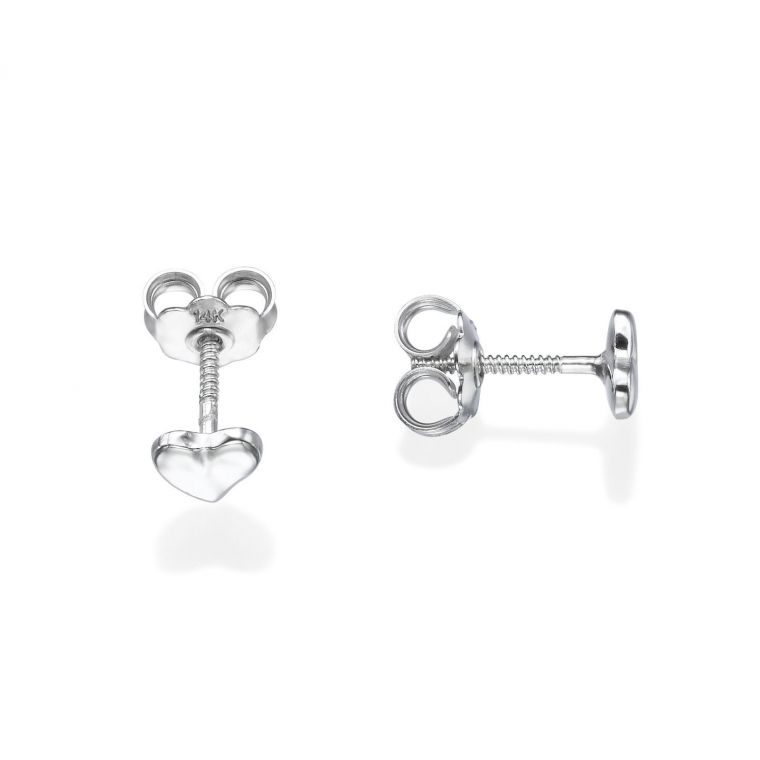 Gold Stud Earrings - Classic Heart - Small